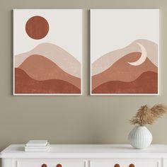Boho Sun and Moon Art, Desert Poster, Printable Wall Art | Terracotta Boho Wall Decor, Midcentury Modern Print Set, Southwest Wall Art
