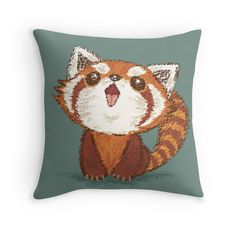 Red panda happy Throw Pillows