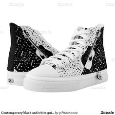 Shop Contemporary black and white guitar sneakers created by giftsbonanza. High Top Chucks, High Top Sneakers, White High Tops, Black And White, Music Gifts, Shoe Art, Custom Sneakers, Top Shoes, Printed Shoes