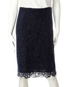Cleo | Navy Lace Pencil Skirt