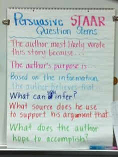 Question stems for STAAR–persuasive 5th Grade Writing, 6th Grade Ela, Third Grade Reading, Fourth Grade, Reading Anchor Charts, Reading Strategies, Comprehension Strategies, Reading Resources, Writing Activities