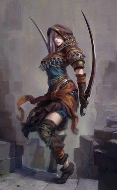 assassin chick, Vadim Marchenkov on ArtStation at https://www.artstation.com/artwork/assassin-chick