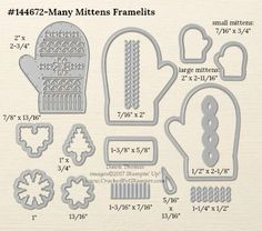 Stampin' Up! Many Mittens Framelit Dies measurements shared by Dawn Thomas #crackedpotstamper #stampinup