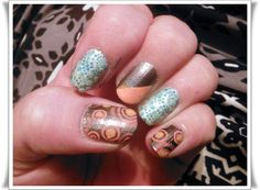My nail stamping art: SHID Snappy Sorbet, CG Galaxy Grey & SHID Silver Sweep Stamped with an XL plate & flocked