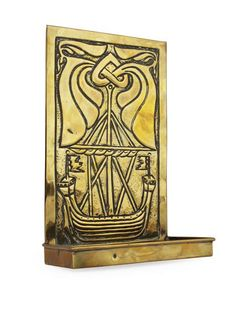 ALEXANDER RITCHIE (1856-1941)  BRASS WALL CANDLE SCONCE, CIRCA 1920  the backplate repoussé decorated with a longboat and entwined foliate motifs above a drip tray (nozzle lacking)  26cm high