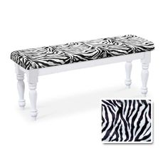 """Wood Country Style White Farmhouse Dining Bench with Zebra Cotton Print Cushion The Furniture Cove This new white solid wood bench has a beautiful farmhouse style with a zebra cotton print cushion. It is great for use at the dining room table and can seat 2 people comfortably. Dimensions: 47"""" Long x 14"""" Wide x 18"""" Tall. This listing is only for the dining bench. It does not include the rest of the dining set."""