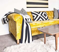 Love how these black-and-white IKEA cushions look against your yellow sofa @lovelychaos !