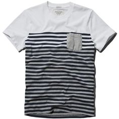Abercrombie & Fitch Striped Pocket Tee ($12) ❤ liked on Polyvore featuring…