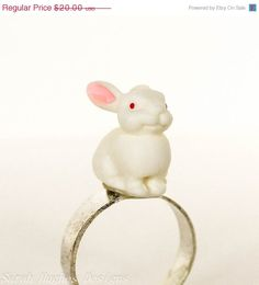 Early Easter Sale Pure white white bunny rabbit by bunnyboutique