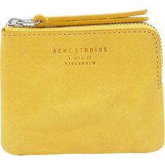 Acne Small Yellow Leather Zip Coin Pouch ($62) ❤ liked on Polyvore featuring bags, handbags, clutches, fillers, accessories, yellow, change purse, zipper coin purse, genuine leather handbags and coin purse