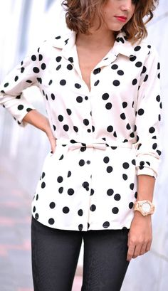 Black And White Polka Dot Bow Belted Button Down by Just Coco