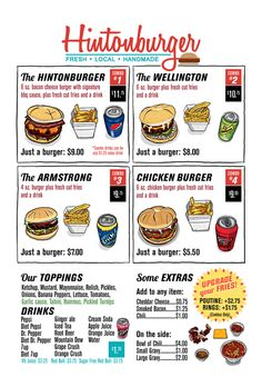 Voted BEST Burgers by Locals! Check Out Hintonburger in Downtown. Ground Meat Recipes, Good Burger, Menu Items, Ottawa, Burgers, Travel Ideas, Restaurants, Handmade, Fresh