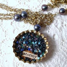 Bottle cap necklace w/beads