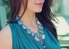 "statement necklace ""CIMP"" by Michelle-en-Vogue via www.disicouture.com Turquoise Necklace, Fans, Couture, Jewelry, Fashion, En Vogue, Ootd, D Day, Moda"