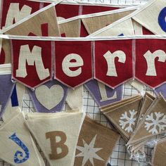 Many fun, creative burlap banners being hand crafted for the holidays 🎄