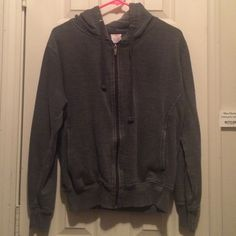 Dark grey zip up jacket with hood Good condition but has been worn. Great light wear jacket for when it's kinda chilly outside but not freezing Jackets & Coats
