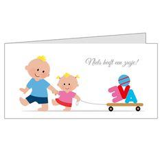 Lief geboortekaartje voor een tweede kind.