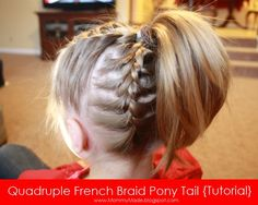 Cute Quadruple French Braided Pony Tail Via @Agape Love Girl Mommy Made Blog