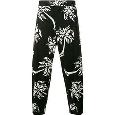 Dolce & Gabbana palm tree print cropped trousers (26 115 UAH) ❤ liked on Polyvore featuring men's fashion, men's clothing, men's pants, men's casual pants, black, mens elastic waistband pants, mens zip off pants, mens cropped pants, dolce gabbana mens pants and mens zipper pants