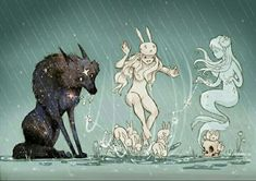 Discover Chiara Bautista mysterious and poetical world of illustration. This talentous mexican artist has created two unforgettable characters : the Bunny Girl and her love, the Star Wolf. Illustrations, Art And Illustration, Chiara Bautista, Bd Art, Bd Comics, Arte Horror, Art Moderne, Art Design, Art Inspo