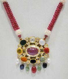 Vintage antique 20K Gold enamel work Navratan stones necklace pendant Rajasthan