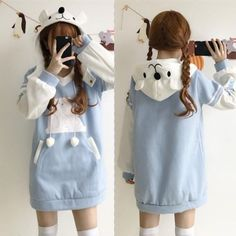 Light blue hoodie fleece dress off at Cosplay, or cosplaying is, by definition, a form of dress up or costume play. Harajuku Fashion, Kawaii Fashion, Lolita Fashion, Cute Fashion, Girl Fashion, Fashion Styles, Fashion Women, Japanese Fashion, Asian Fashion
