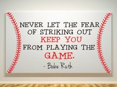 Babe Ruth Quote - Canvas Painting - Fear Of Striking Out - Baseball available on Handmadeology Market #handmadeology