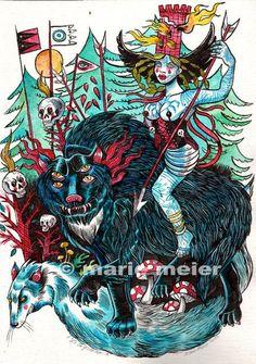 Marie-Jeanne Vallet fighting Gevaudan beast  watercolor by Marie Meier 2013