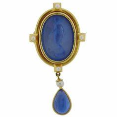 Elizabeth Locke Venetian Glass Intaglio Pearl Gold Pendant Brooch