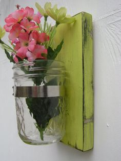French cottage Shabby Chic wall vase glass jar cottage decor handmade rustic slightly destressed