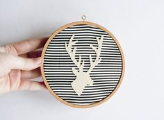 Stitched stag silhouette in vintage embroidery hoop Embroidery Hoop Crafts, Modern Embroidery, Vintage Embroidery, Embroidery Patterns, Hand Embroidery, Machine Embroidery, Diy Carnival, Do It Yourself Inspiration, Sewing Lace