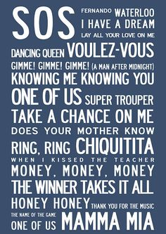 ABBA Song Titles Poster Come hear these songs LIVE. ABBA Tribute Oct 21, 2013 I need this.