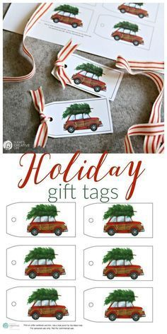 Free Printable Holiday Gift Tags | This red car with the Christmas tree gift tag will make gift wrapping easy! Find it on Today's Creative Life