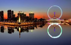 Tianjin Eye, China-A rundown of the most intense traverses around the globe Tianjin, Top 10 Tourist Destinations, Living In China, Best Cities, City Lights, Best Hotels, Night Life, Beautiful Places, Amazing Places