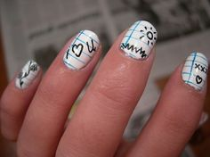 Wide Rule or College Rule Paper?  Take your pick & personalize your nails with fun doodle designs!   Source: bigbadbabynames.net