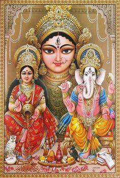 Durga, Lakshmi and Ganesha - Reprint on Paper