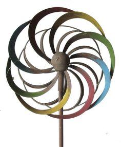 Windrad rost farbig bunt Metall Gartenstecker 21,5 cm Durchmesser 130cm Hoch