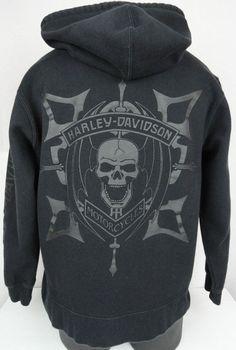 Harley-Davidson Mens M Willie G Skull Black Hoodie Sweatshirt Full Zip LS Jacket #HarleyDavidson #Hoodie
