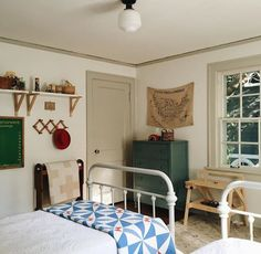 it's monday morning with much to do, but first, tidy bedrooms because an uncluttered environment = an uncluttered mind. Interior Exterior, Interior Design, Kids Bedroom, Bedroom Decor, Farmhouse Style Bedrooms, Farmhouse Chic, Wabi Sabi, Boy Room, Decoration