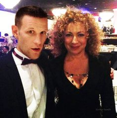 Matt Smith and Alex Kingston. A Doctor a Day. I love how they still see each other even after filming is over.