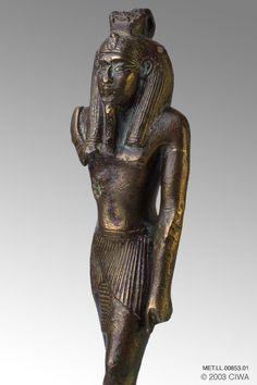 Bronze of King Sethi I as Nefertem, Period:  Egypt, New Kingdom, Dynasty 19, Sethos I/Menmaatre   Dating:  1318 BC–1304 BC   Origin:  Egypt, Lower Egypt, Memphis   Material:  Bronze