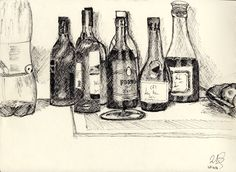 Drawing of the drinks table after christmas. We don't drink that much. Drink Table, After Christmas, Drawing, Drinks, Painting, Art, Beverage Table, Craft Art, Christmas Post