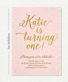 1st birthday invitation pink and gold glitter by hueinvitations