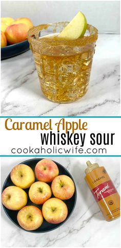 Caramel Apple Whiskey Sour - the perfect fall cocktail made with apple juice, whiskey, lemon juice and caramel sauce. #cocktails #applewhiskey