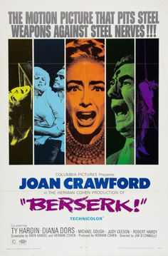 US one sheet for BESERK (Jim O'Connolly, UK, 1967)