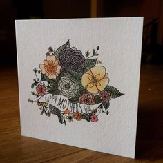 Floral Mothers Day Card - happy mums day. Hand drawn flowers. Blank card UK Mom / Mam / Mothering Sunday