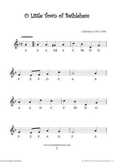 Very Easy Christmas Alto Saxophone Sheet Music Songs [PDF] - O Little Town of Bethlehem