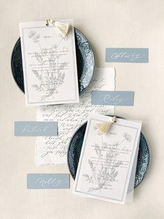 Wedding flatlay, menus, fine art menus, place cards, dusty blue wedding Wedding Menu, Wedding Stationary, Wedding Invitations, Dusty Blue Weddings, Place Cards, Stationery, Fine Art, Lettering, Design