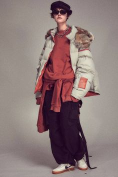 Boy Fashion, Fashion Looks, Womens Fashion, Colourful Outfits, Cool Outfits, Hiking Fashion, Model Body, Shearling Jacket, Korean Outfits