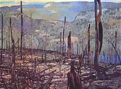 Frank Johnston -Fire swept Algoma - Member of the Group of Seven, Canadian Painters - The Art History Archive Canadian Art, Landscape Paintings, Group Of Seven Paintings, Winter Landscape, Painter, Canada Images, Art, Canadian Painters, Tom Thomson